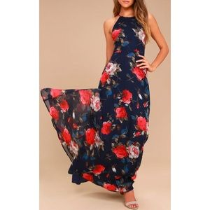 Navy Blue Floral Print Lace-Up Maxi Dress